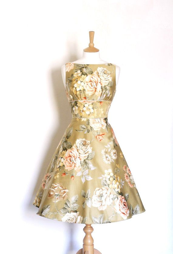 Greeny Gold Roses Cotton Satin Tea Dress  Made by by digforvictory, £115.00