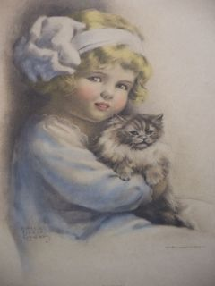 RARE VINTAGE BESSIE PEASE GUTMANN TABBY PRINT 172 GIRL with CAT
