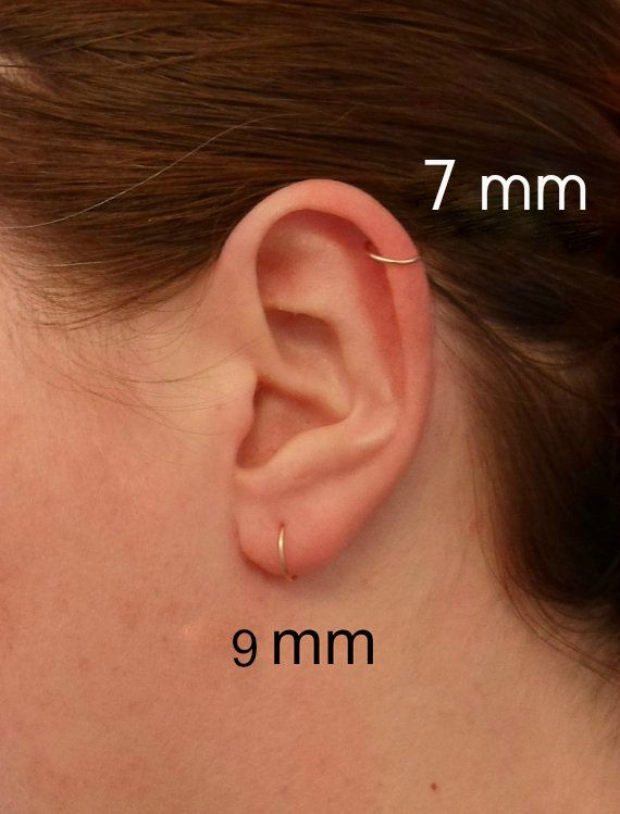 ROSE GOLD FILLED 14k Hoop Earring Cartilage Tragus Helix Eyebrow Nose Ring Small Tiny Catchless Seamless Little Sleeper. Hypoallergenic. 100% Nickel