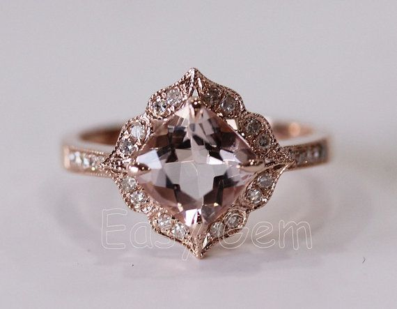 NEW DESIGNVintage Morganite and Diamond Ring /Morganite by EasyGem, $549.00