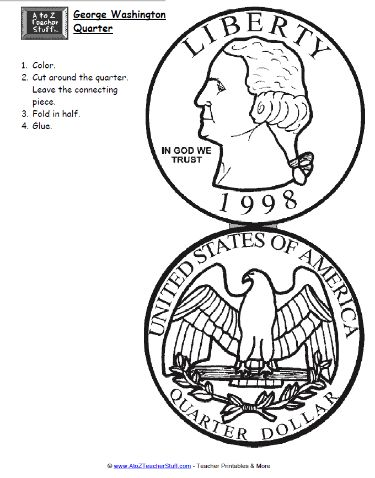 George Washington – Quarter Printable { free printable } #azteach
