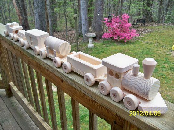 Tren Set pino madera juguetes coche 6 pino Natural por mikebtoys