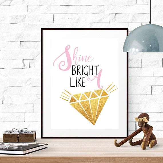 Shine bright like a diamond Pink and gold by LUCIAandLUCIANA
