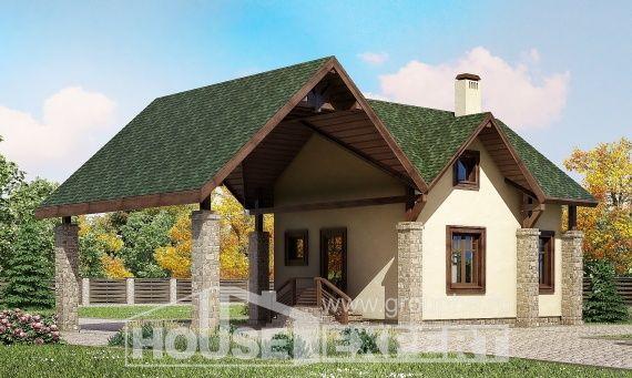 060-001-Л Проект двухэтажного дома с мансардным этажом, гараж, компактный загородный дом из бризолита, Губкинский