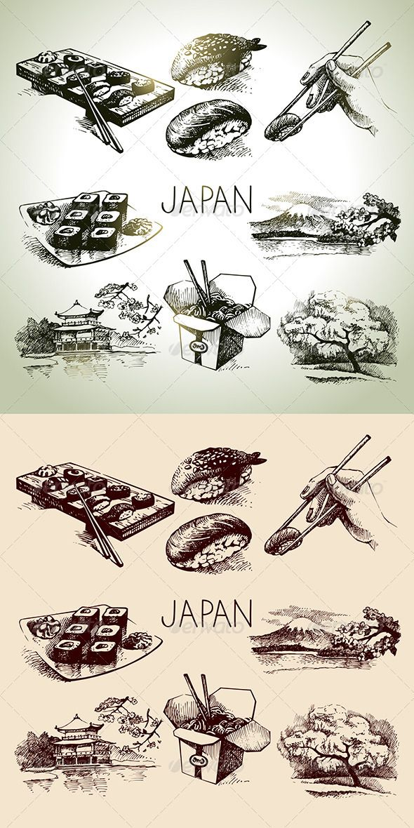 Japan Sushi Hand Drawn Set #GraphicRiver Set of hand drawn vintage sushi icons. This illustrations can be used in design of printed materials (brochures, invitations, postcards), in web design etc. No bitmaps, only vector used. Zip file contains fully editable EPS 8 vector file, AI CS vector file and high resolution pixels RGB Jpeg image. Contains the author's non-editable text. Created: 10 December 13 Graphics Files Included: JPG Image #Vector EPS #AI Illustrator Layered: No Minimum Adobe…