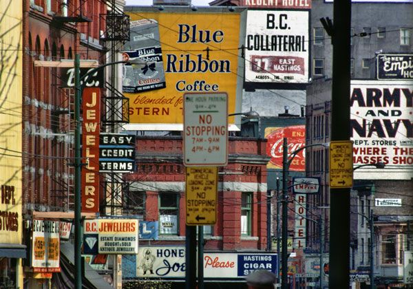 "Fred Herzog - ""Hastings and Carrall"", 1968"
