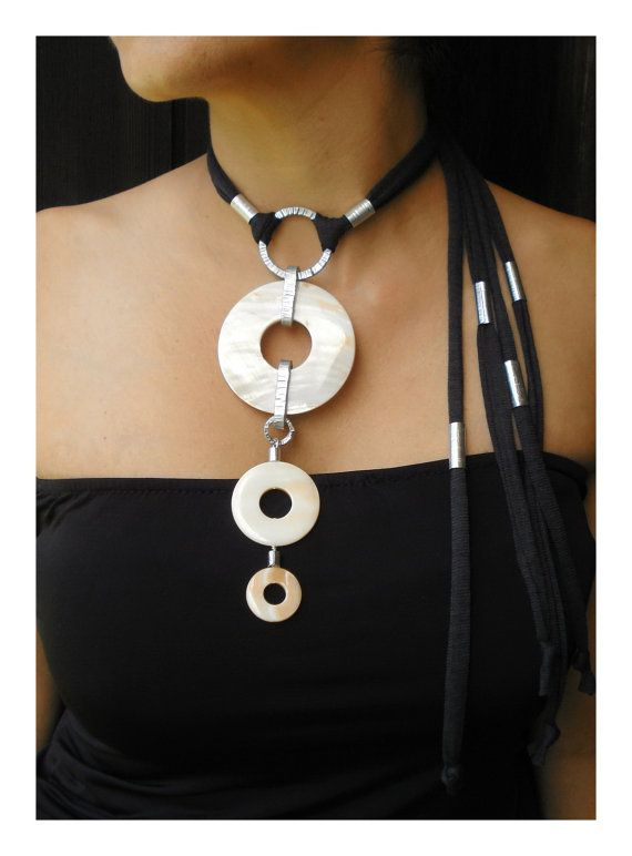 Hey, I found this really awesome Etsy listing at https://www.etsy.com/se-en/listing/207025149/textile-necklace-statement-white