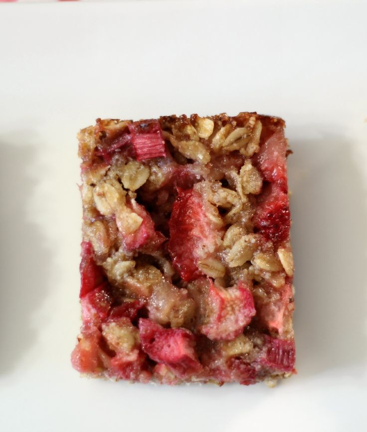 Strawberry-Rhubarb Crisp Bars (vegan, gluten-free) - A sweet, healthy, low calorie snack bar chock full of strawberries and rhubarb.