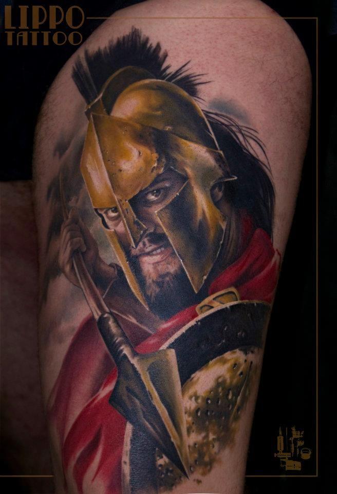 Leonidas by Ritratti at Lippo Tattoo in Frosinone, Italy
