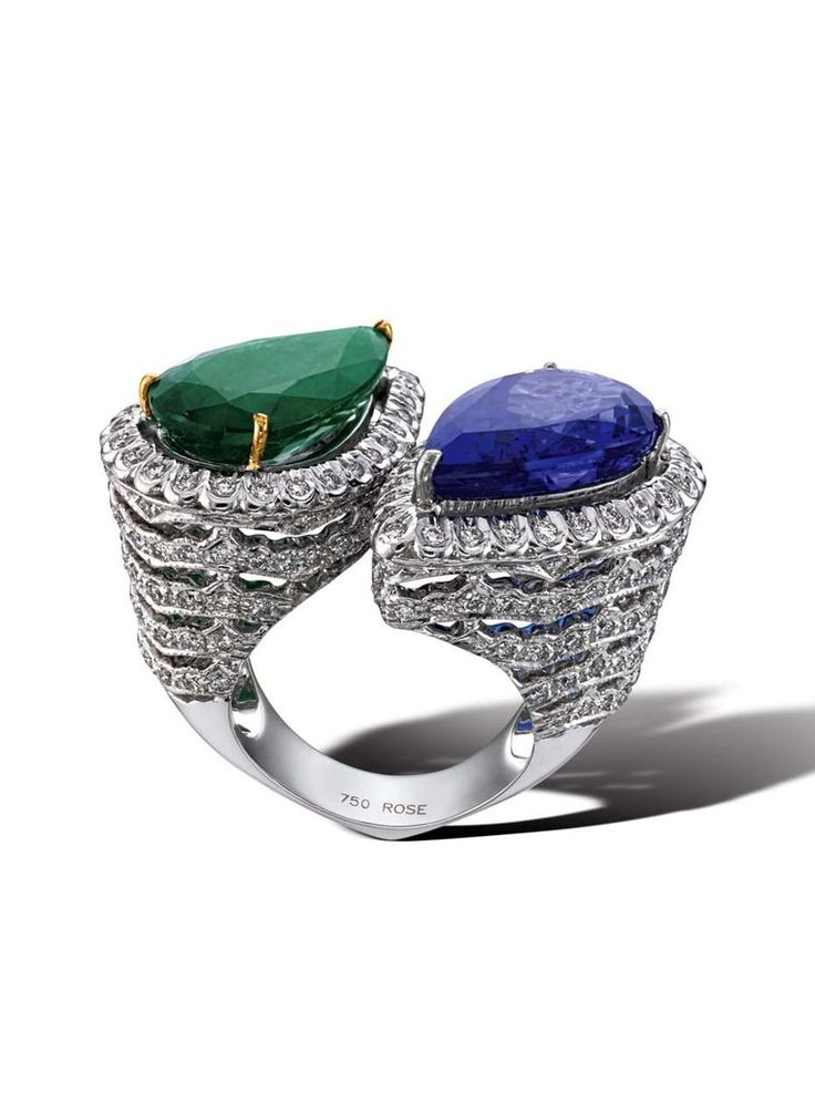 House of Rose emerald and tanzanite ring with diamonds.