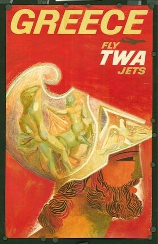 ORIGINAL 1950's Vintage Airline Travel Poster TWA Jet GREECE Warrior David Klein
