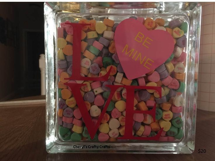 Valentine love 6x6 glass block glass blocks glass and for Glass boxes for crafts