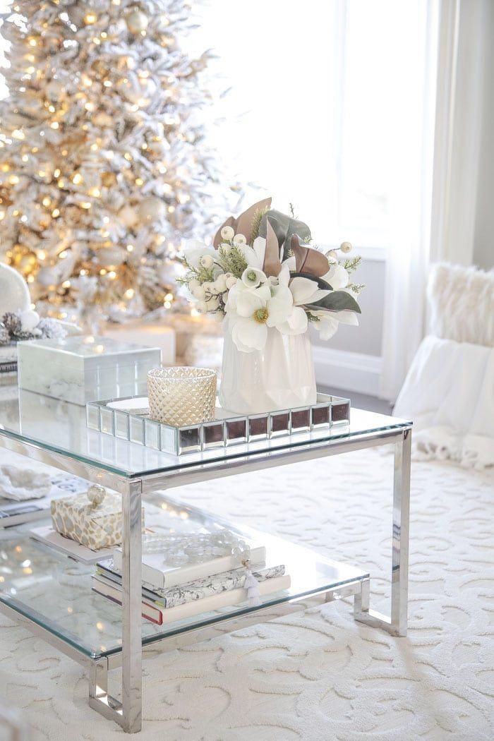 Elegant Gold And White Christmas Living Room Decor Ideas Christmas Decorations Living Room Christmas Living Rooms Holiday Living Room