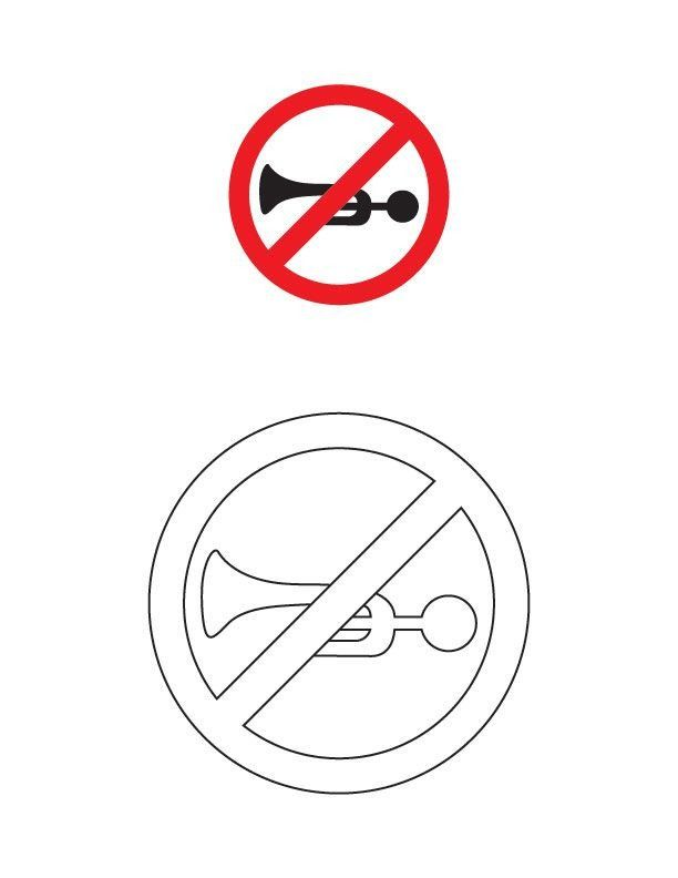 Traffic Signs Coloring Pages Horn Prohibited Traffic Sign Coloring Page In 2020 Coloring Pages Easy Coloring Pages Printable Coloring Book