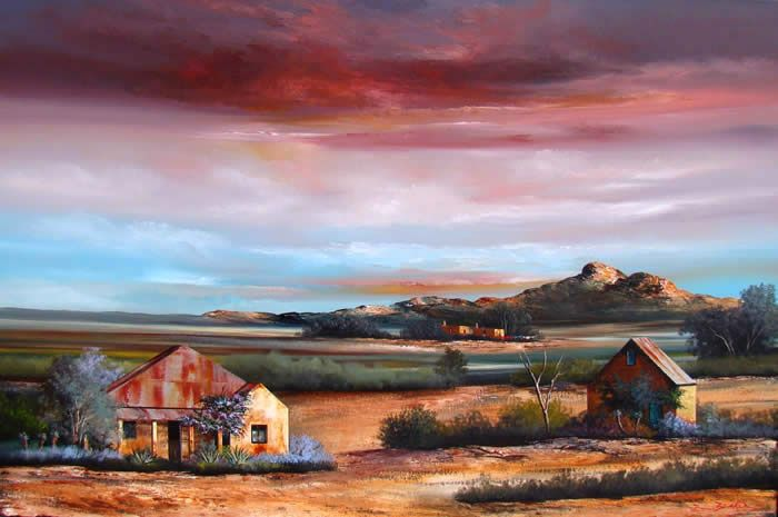 Painting by Rick Becker - Karoo Landscape