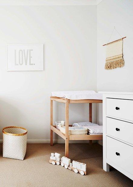 A Rachel Castle print and Ikea change table keeps things simple and stylish   Home Beautiful Magazine Australia