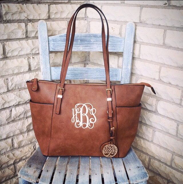 Monogram Purse Bag, Tan Pocketbook, Tan Leather Monogram Tote Purse, Classic Monogrammed Pocketbook , Designer Inspired Handbag by SassyClassyMonogram on Etsy