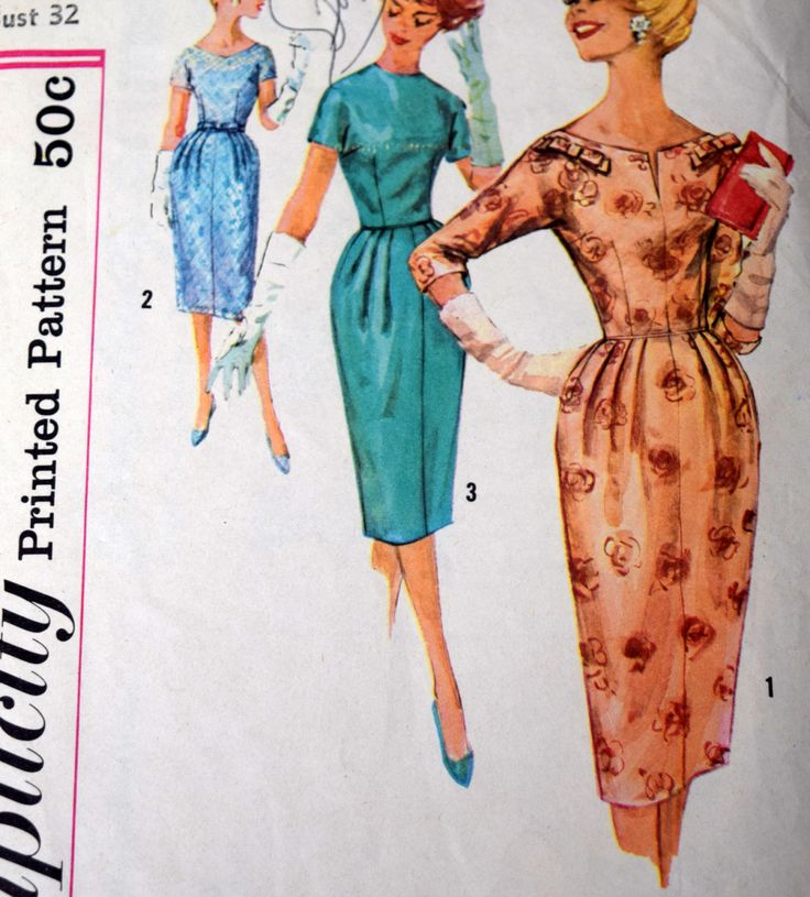 Simplicity 2726, Vintage Wiggle Dress Sewing Pattern, Size 12 Bust 32, Fitted 1950s Cocktail Dress, Cut but Complete by PishPoshNotions on Etsy