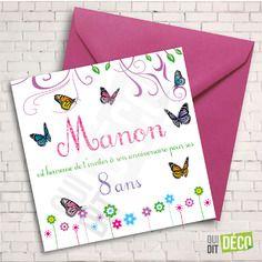 6 cartes d'invitation personnalisables et leurs enveloppes fushia pour anniversaire de fille