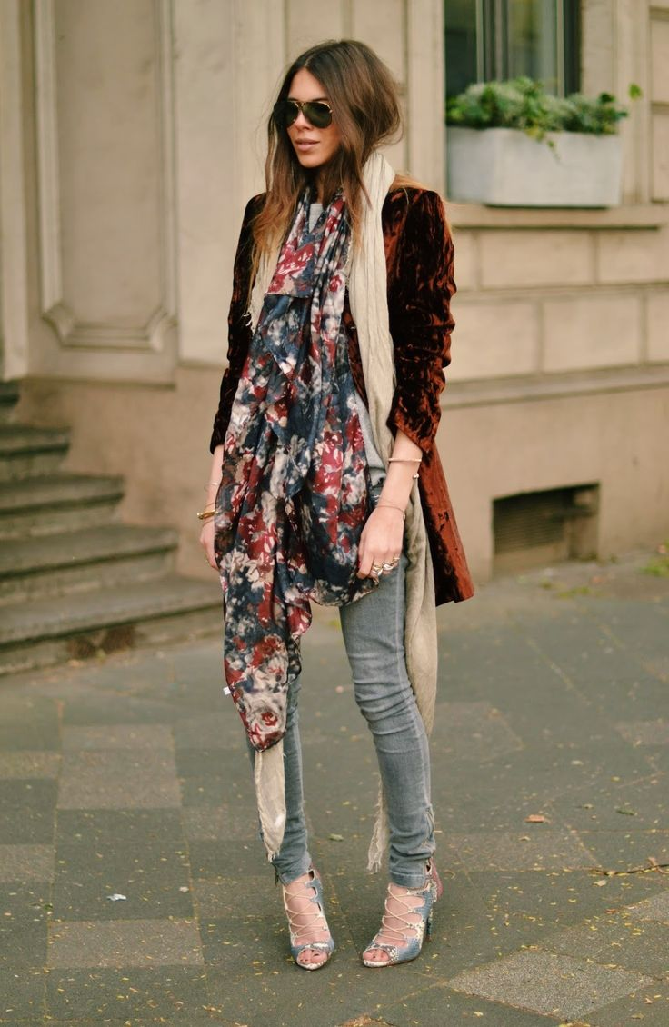Floral Scarf, Velvet Blazer, Lace up Heels, Layering, Style Inspiration, Boho, Boho Chic, Outfit