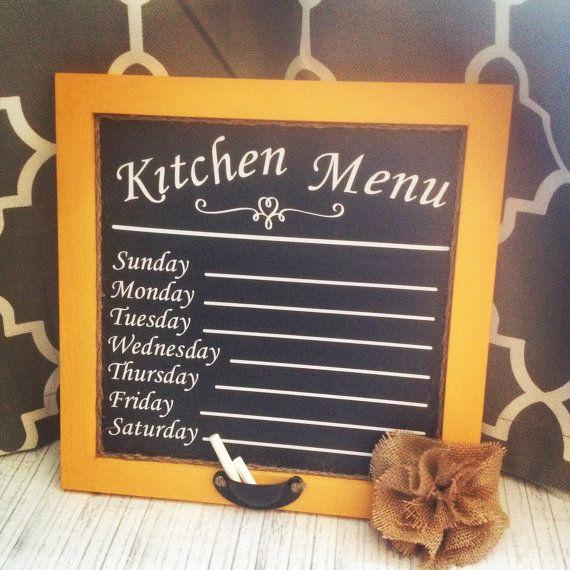 Weekly Country Kitchen Menu Chalk Board 14x14 by #COBBLESTONECREEK on Etsy.com