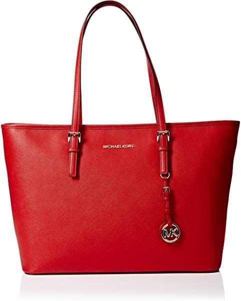 17b5234b4de4f4 Amazon.com: Michael Kors Womens Jet Set Travel Tote Red (Bright Red): Shoes