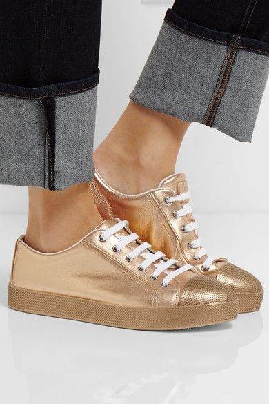 Rubber sole measures approximately 35mm/ 1.5 inches Gold textured-leather Lace-up front Made in Italy