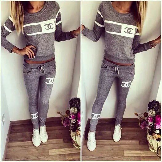 Stylish womens #darkgray #tracksuit with #chanel logo ...