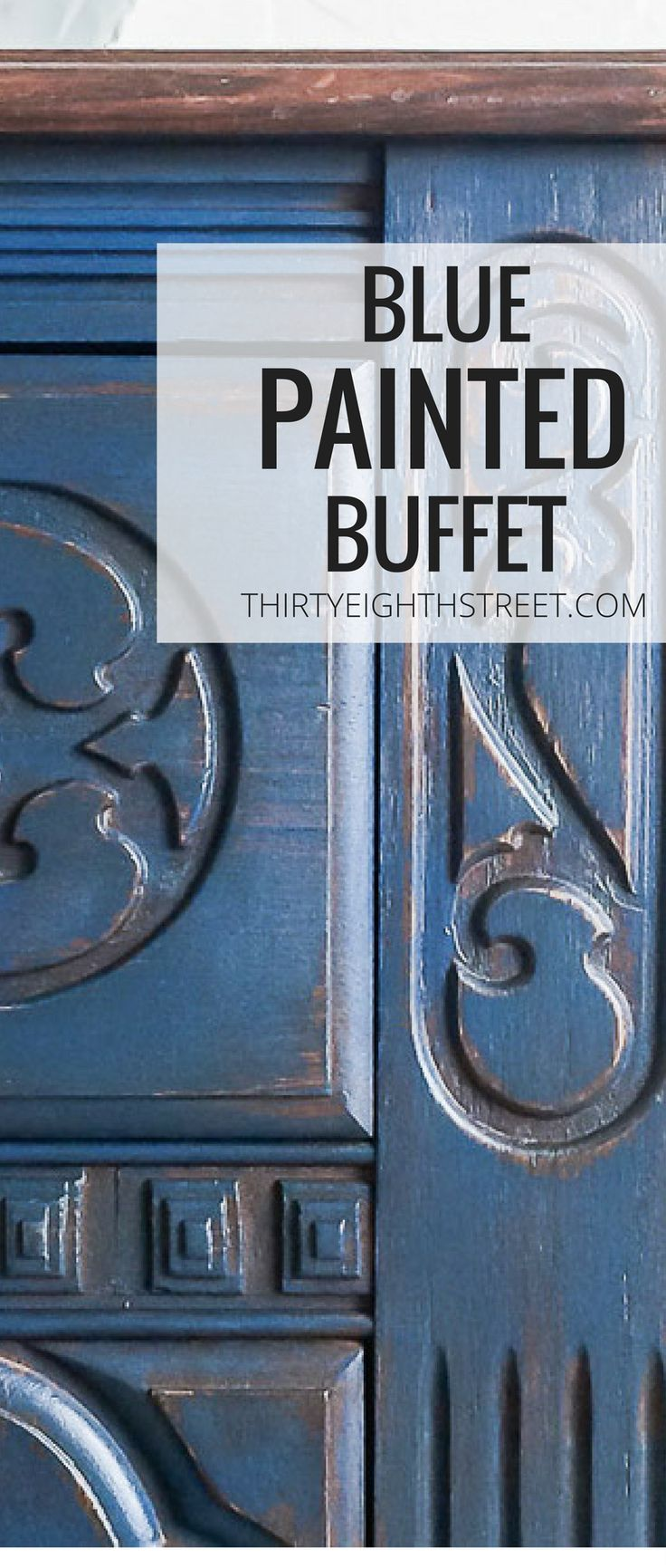 How To Paint and Distress Furniture. Blue Painted And Distressed Buffet. Blue Furniture Ideas. Farmhouse Furniture Inspiration. How To Paint and Distress Furniture Without ANY Sandpaper. Chalk Painted Buffets. Buffet Makeovers. #bluefurniture #paintedbuffet #buffetmakeovers #paintedfurniture