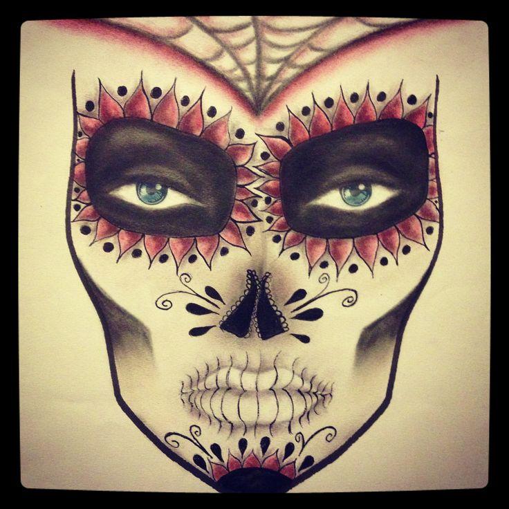 Sugar skull facechart. MUA: Becki Morgan