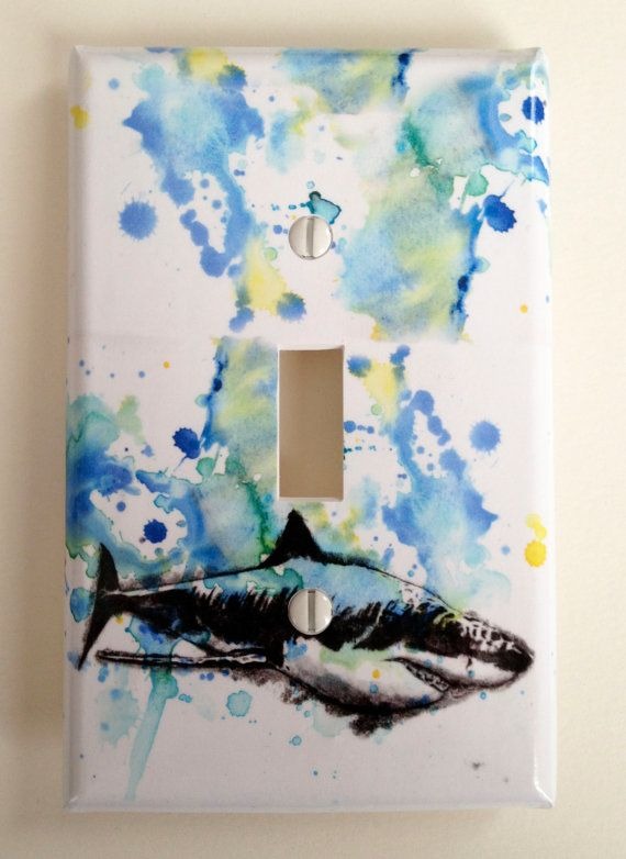great white shark decorative light switch cover great kids room decor baby nursery decor and of course everyone - Decorative Light Switch Covers