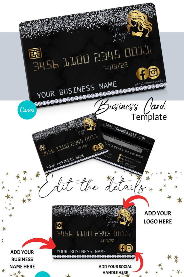 Diy diamond and gold credit card business cards canva