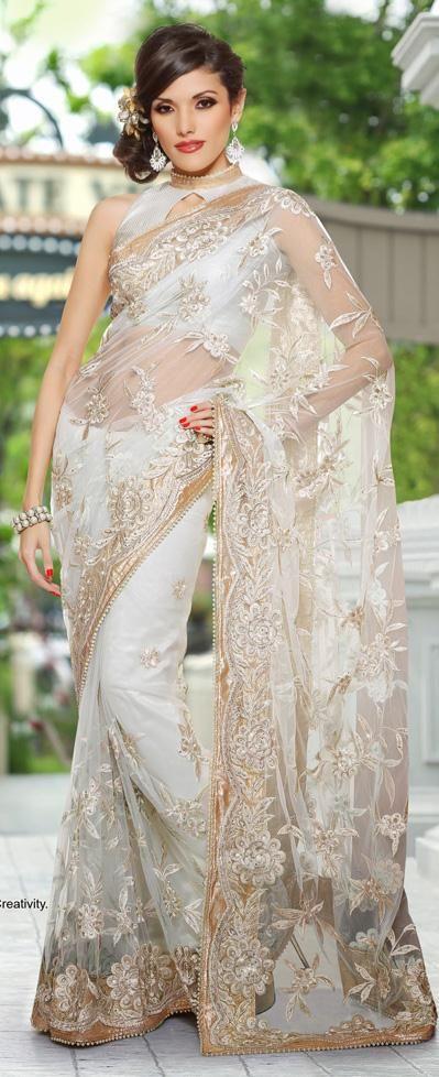 $76.64 White Zardosi with Stone Work Net Party Wear Saree 26238