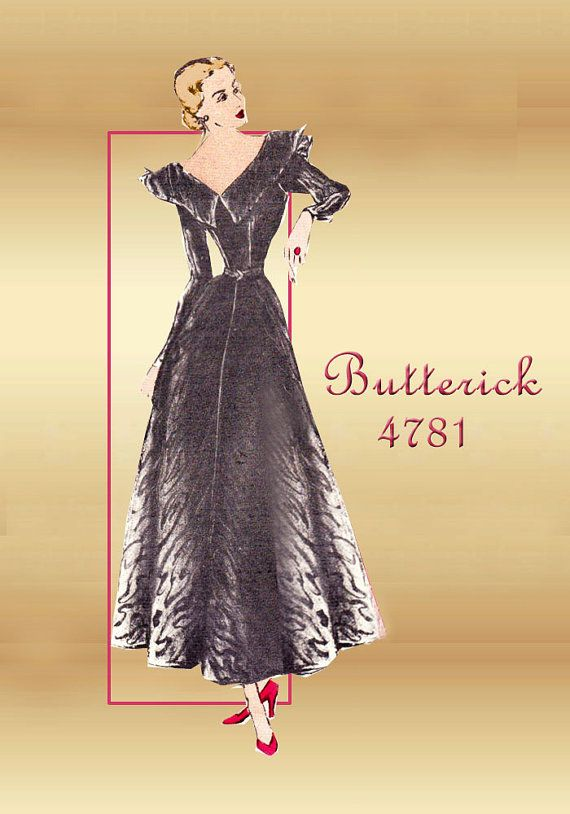 1940s Dress Pattern Butterick 4781 Formal by FloradoraPresents