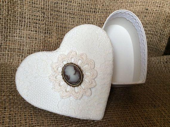 White cottage chic heart shape storage box. by EnchantedLaceDecor