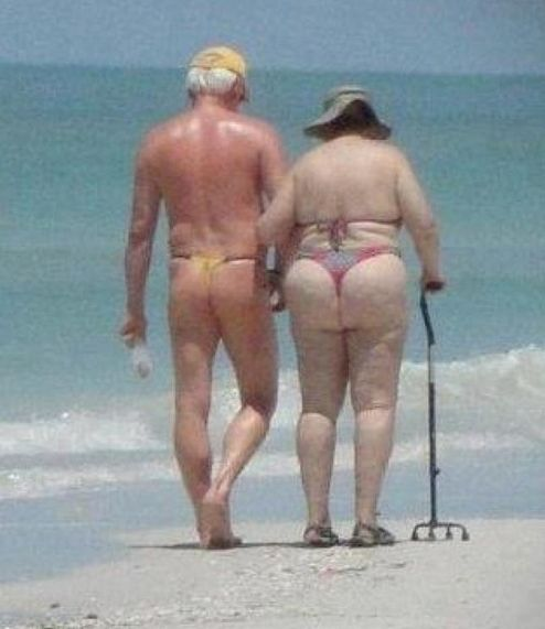 Old People Just Don't Care BIKINI All The Way ---- funny pictures hilarious jokes meme humor walmart fails