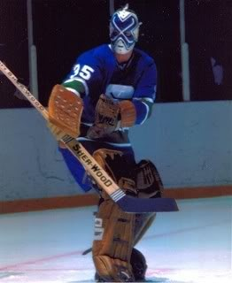 Now that's a Canucks mask! #10: Curt Ridley, Vancouver Canucks, 1976-78