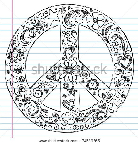Hand-Drawn Sketchy Peace Sign Doodle With Flowers, Hearts, And Stars On Lined Notebook Paper Background- Vector Illustration - 74539765 : Shutterstock