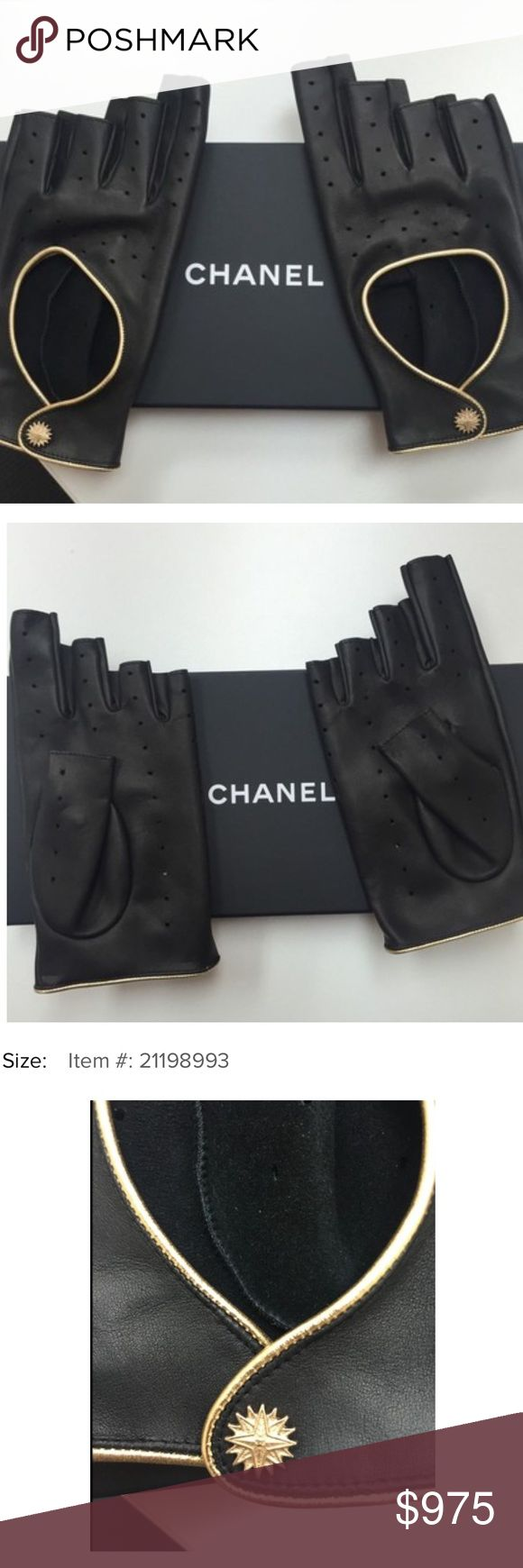 Gold driving gloves - Nwt Chanel Leather Fingerless Driving Gloves Chanel Driving Gloves Fingerless Black Leather With Gold Trim