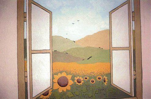 Malby na stěny - výzdoba interiérů - malování na zeď... Really fresh and pretty!!