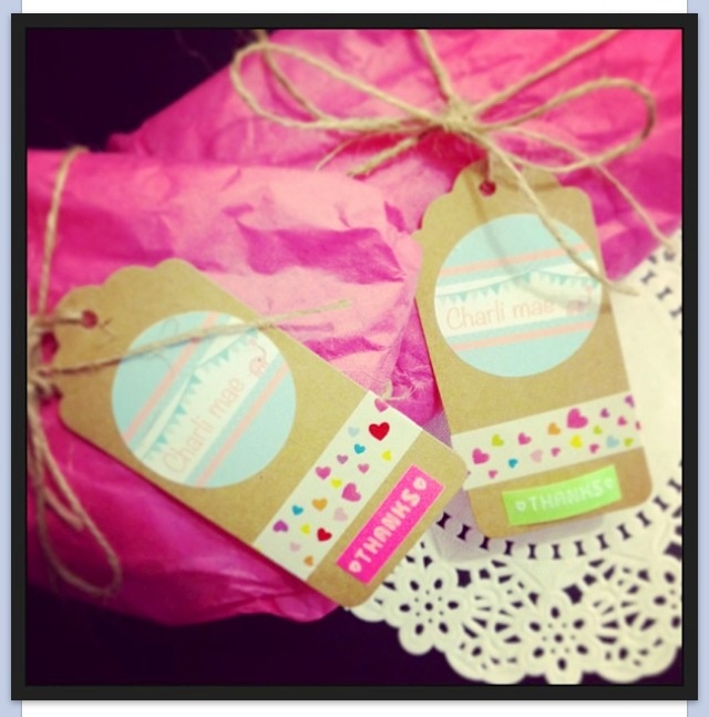 Love these cute tags- Kraft tags, washi tape and motex.
