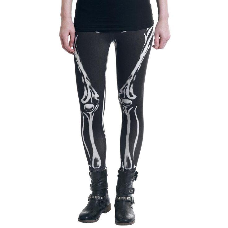 """#Leggings neri """"Skeleton Leggings"""" della collezione Rock Rebel by EMP con scheletro stampato in bianco."""