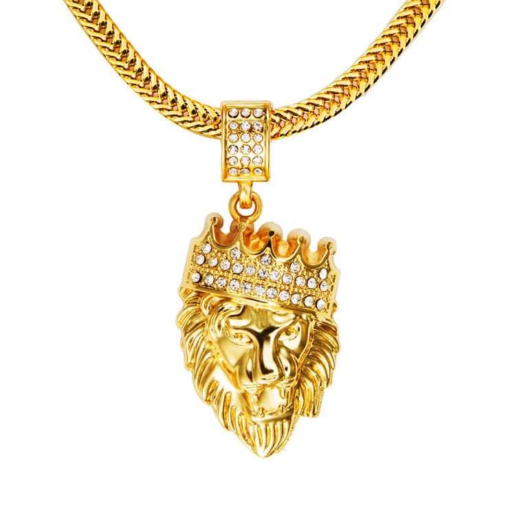 Mens' Hip Hop Jewelry Iced Out Gold Plated Fashion Bling Bling Lion Head Pendant Men Necklace Gold Filled For Gift Present NYUK