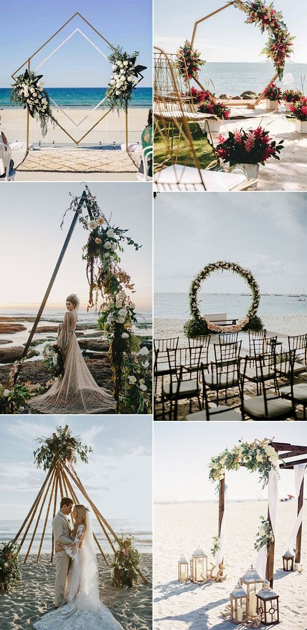 20 Stunning Beach Wedding Ceremony Ideas Backdrops Arches And Aisles Emmaloveswedding In 2020 Wedding Alter Decorations Wedding Beach Ceremony Beach Wedding Flowers