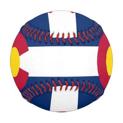 Patriotic baseball with flag of Colorado USA - kids kid child gift idea diy personalize design