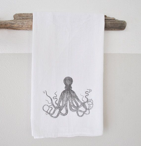 Octopus Dish Cloth - printed dish cloth - dish cloth - hand towel - beach decor - nautical dish towel - nautical home decor - octopus on Etsy, $17.00