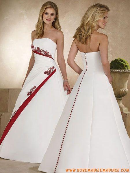 Robe de mariée bustier pas cher 2012 blanche et rouge satin