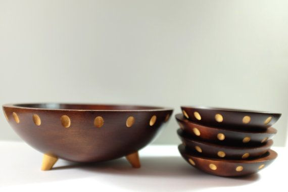 Spaceship Mid Century Maple Wood Baribocraft Serving Set, 4 small Bowls and one Large Bowl by Baribocraft