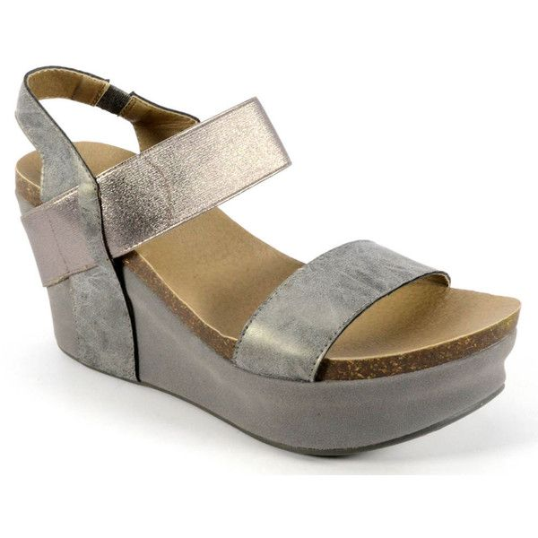 Corkys Wedge Women's Pewter Sandal 11 M ($55) ❤ liked on Polyvore featuring shoes, sandals, pewter, corkys footwear, elastic sandals, corkys shoes, cork wedge sandals and pewter shoes