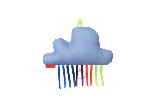 """La « maman » de Mellipou, Marie Valton, est une «artiste polyvalente»et se mit à créer des boîtes à musiques pour enfants. Boîte à musique en forme de nuagebleu cielaux rubans arc-en-ciel. Un cadeau vraiment original pour une naissance, un anniversaire, à suspendre au mur comme décoration.Tirez la bobinette et vous entendrez la mélodie de """"Thriller"""" de Mickael Jackson."""